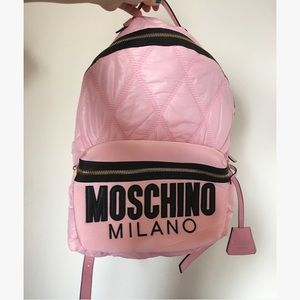 Moschino Pink Quilted Backpack w Logo